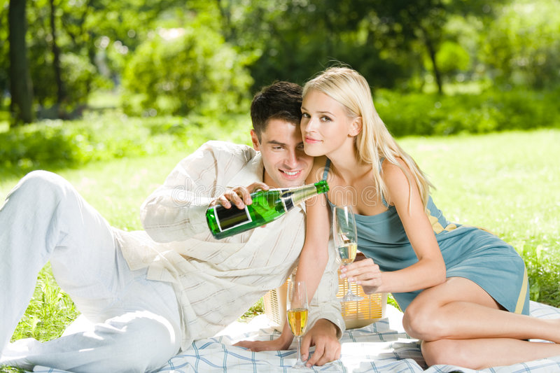 Young couple celebrating. At picnic royalty free stock photography