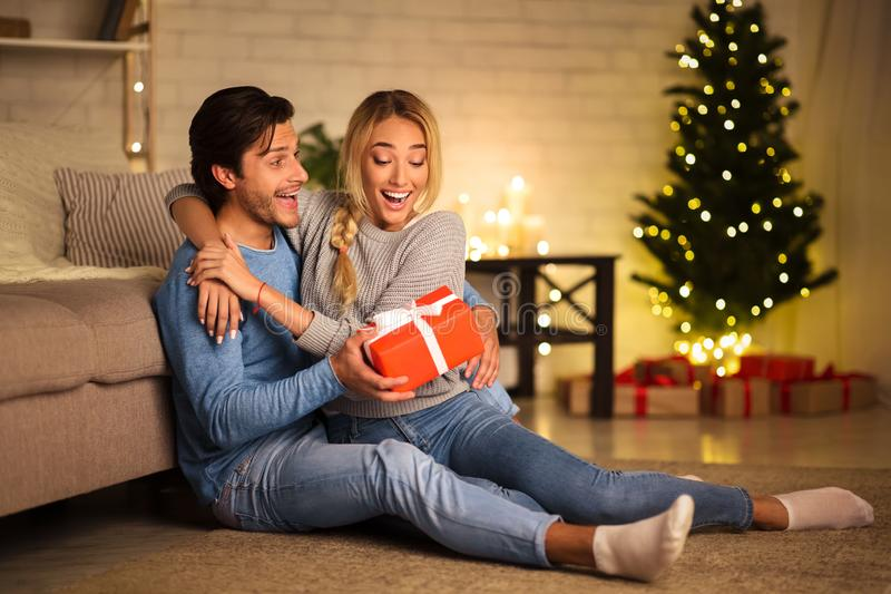 Young couple celebrating Christmas at home, copy space royalty free stock image
