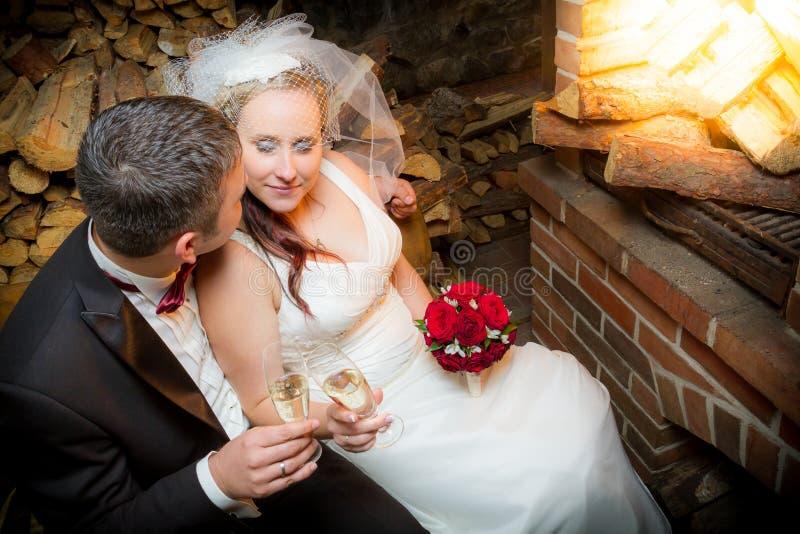 Young couple celebrating marriage stock photo