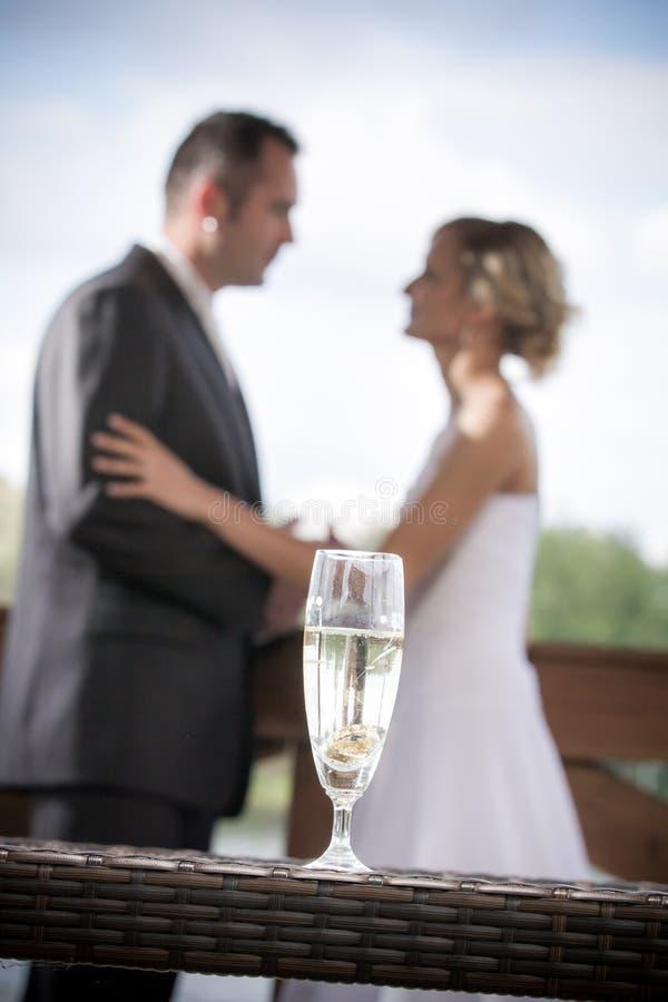 Young couple celebrating wedding ceremonies stock image