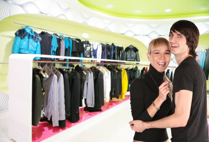 Download Young Couple In Clothes Shop Royalty Free Stock Photos - Image: 7556898