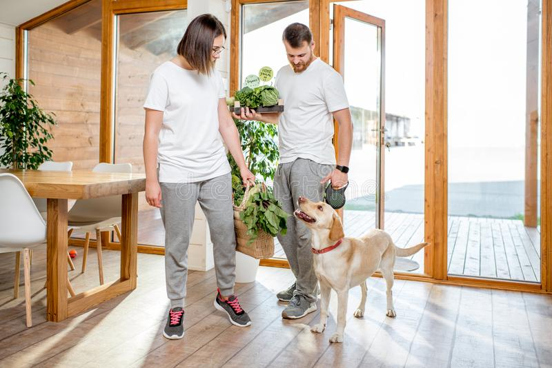 Couple coming home with dog and food. Young couple coming home with dog and fresh green vegetables from the garden or food market royalty free stock image