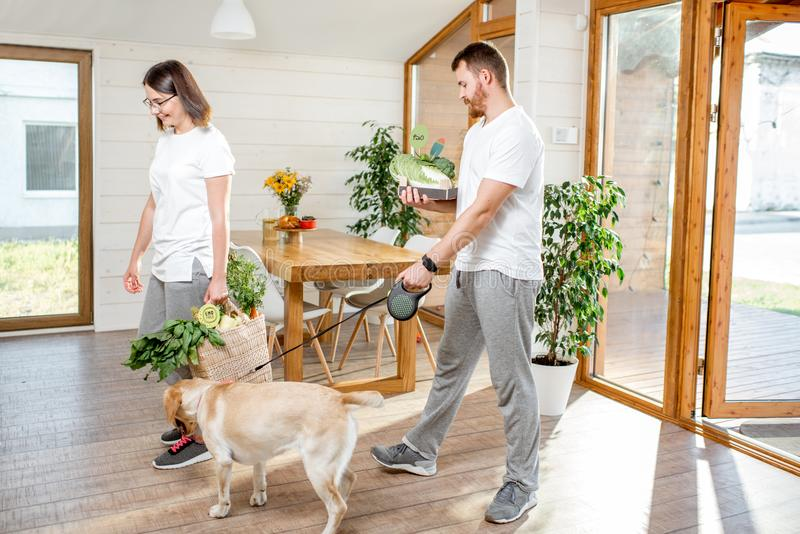 Couple coming home with dog and food. Young couple coming home with dog and fresh green vegetables from the garden or food market royalty free stock photos