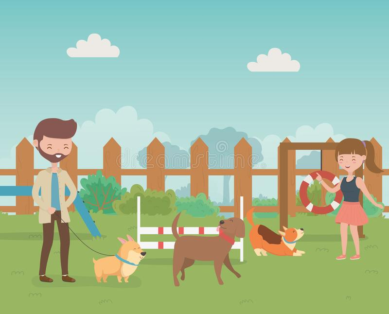 Young couple with cute little dogs mascots in the field stock illustration