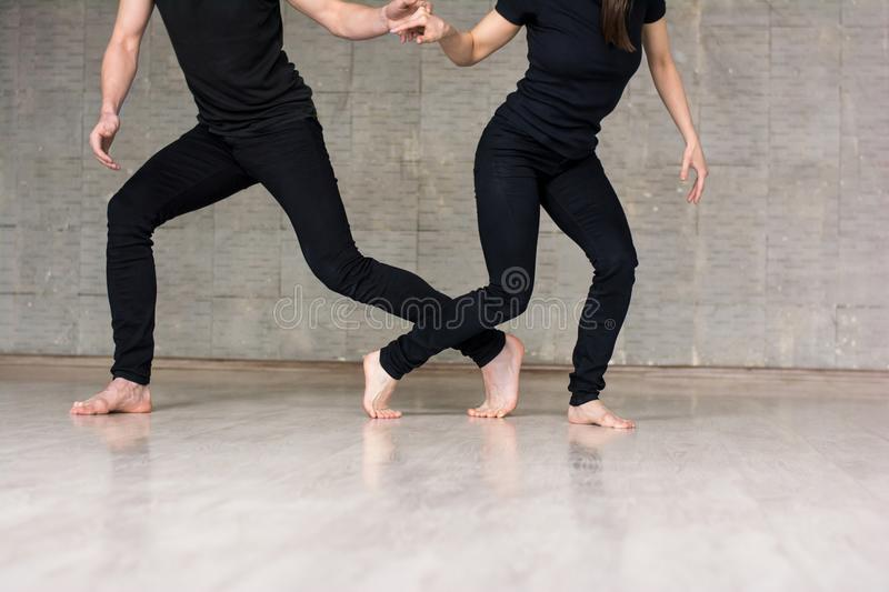 Young couple of dancers in movement. stock photography