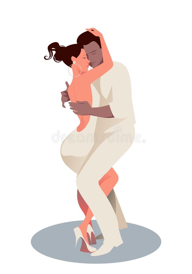 Young couple dancing bachata, merengue or latin music. Vector Illustration vector illustration