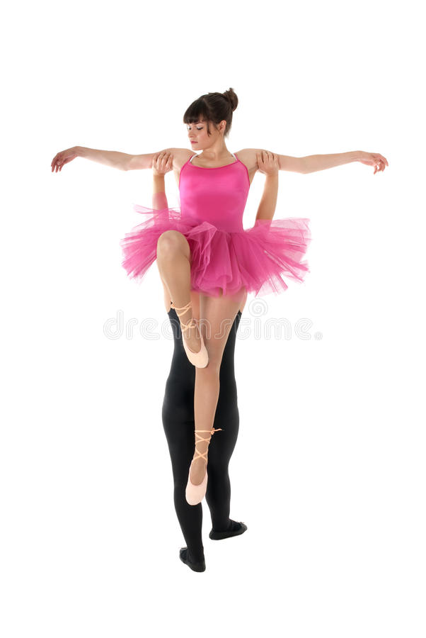 Young couple dancing ballet isolated on white