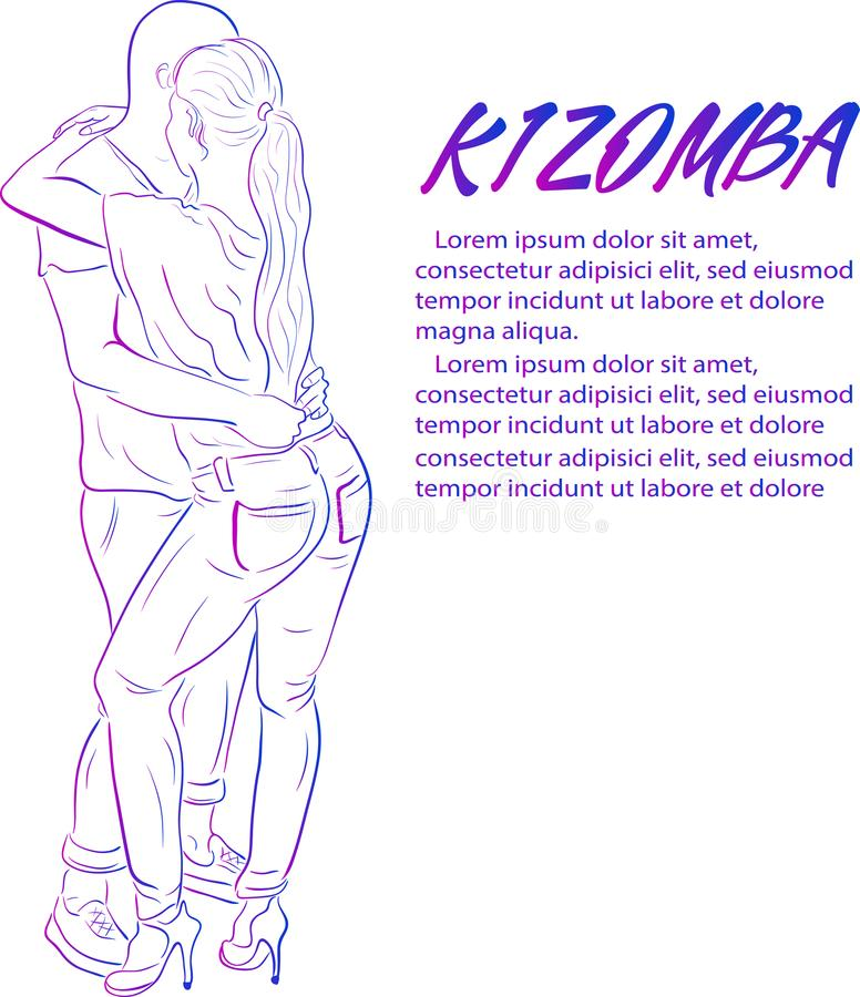 Young couple dancing kizomba vector draw stock illustration