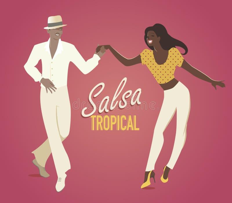 Young couple dancing latin music stock illustration
