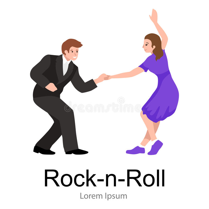 Young couple dancing lindy hop or swing in a formation, man and woman Rock and Roll dancing royalty free illustration