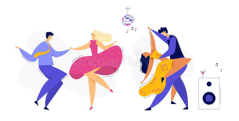 Young Couple Dancing Swing, Tango, Pop. Night Club Disco Party with Male and Female Dancer Characters Set stock illustration