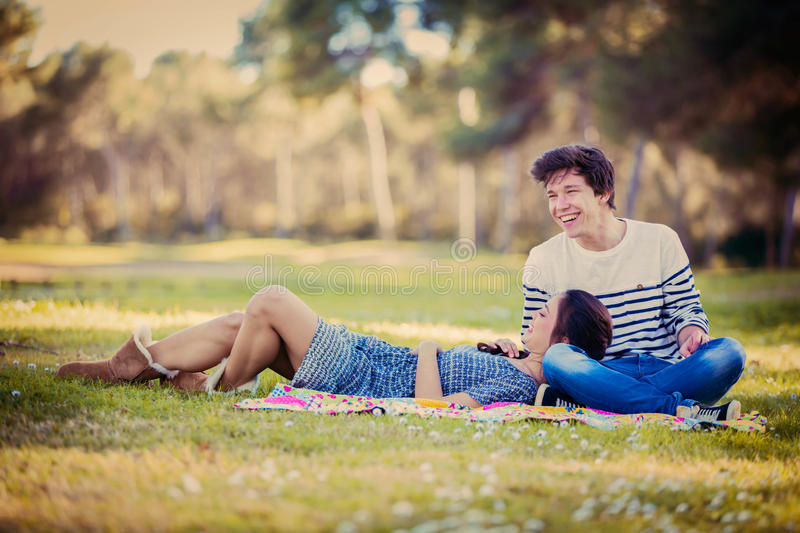 Young couple on date in summer stock image