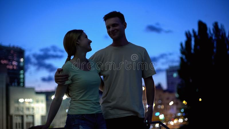 Young couple dating and enjoying time together, love at first sight, romantic royalty free stock photography