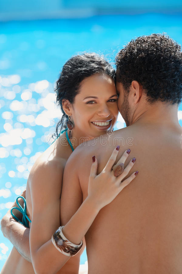 Young couple doing honeymoon in resort stock photo