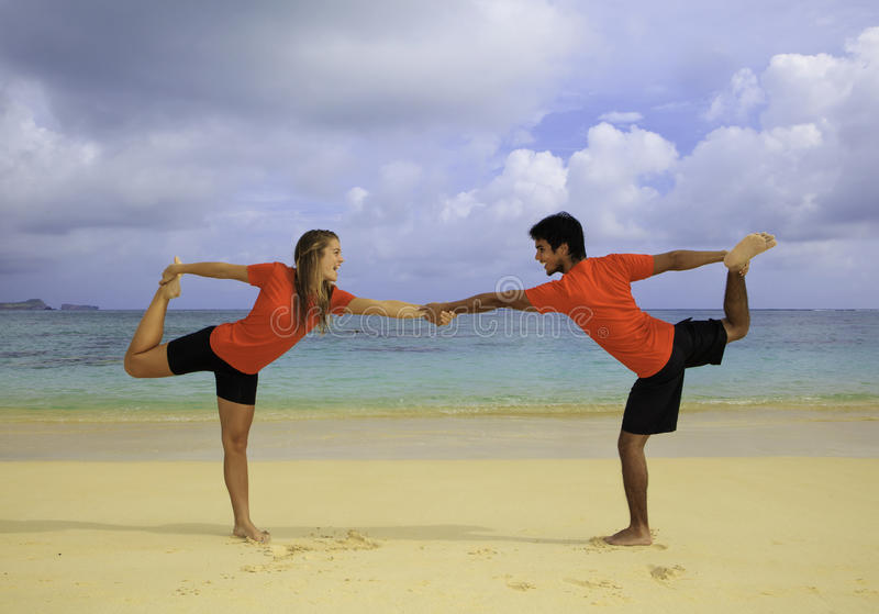 Download Young Couple Doing Yoga, Exercise Stock Image - Image: 18568751