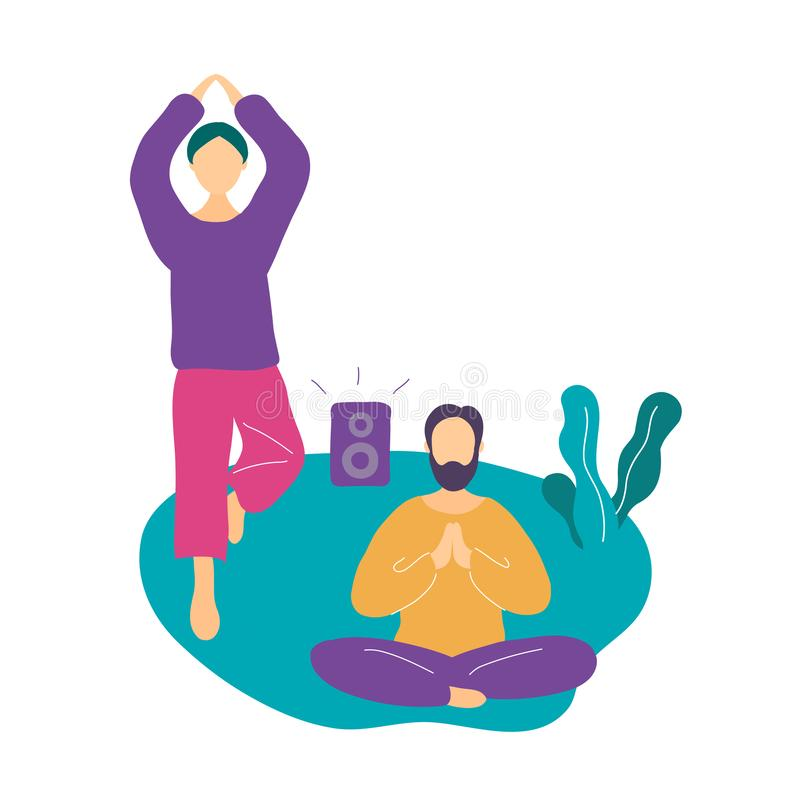 Couple doing yoga exercise and meditating in park vector illustration