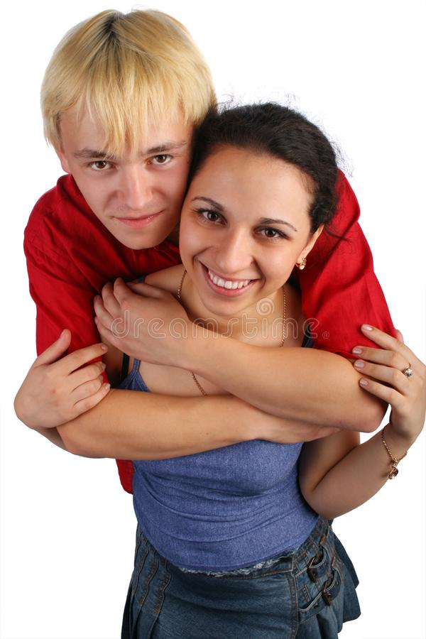 Download Young Couple Embraces Top View Stock Photo - Image: 6525398