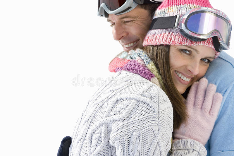 Young couple embracing, smiling, portrait, cut out royalty free stock images