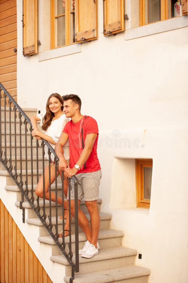 Young couple exploring ancient village Smartno in slovenia in early summer.  royalty free stock photos