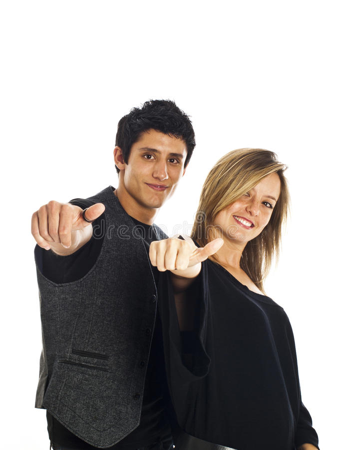 Young couple expressing positivity