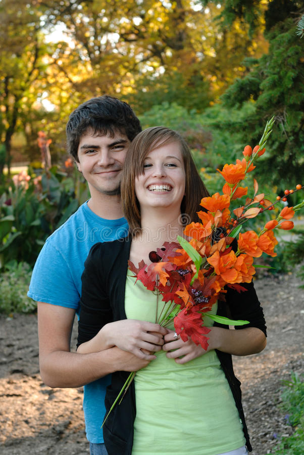 Young Couple In The Fall royalty free stock image
