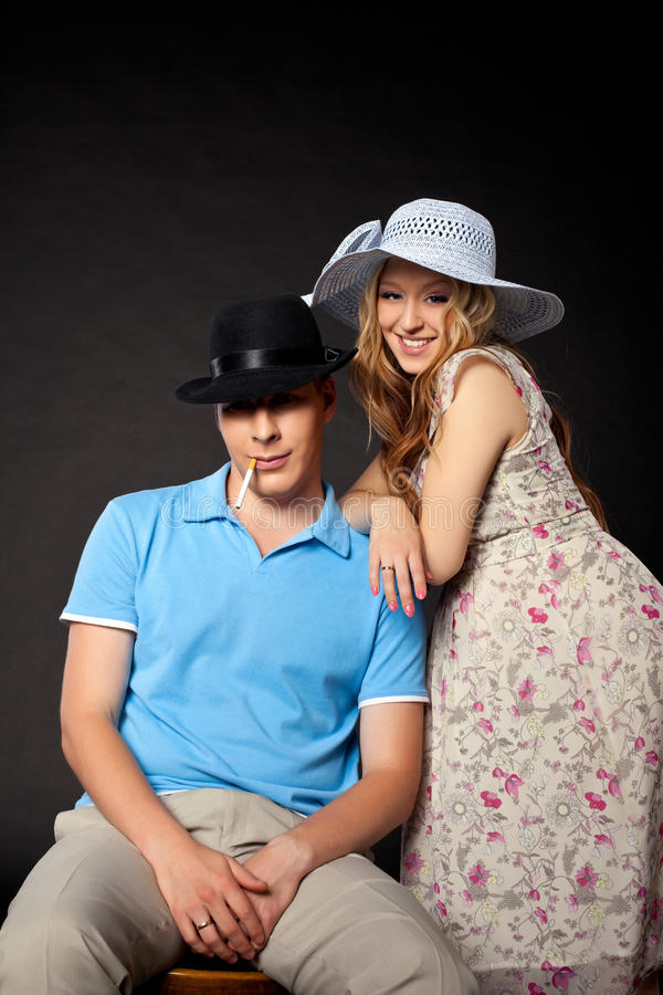 Young couple family portrait with pregnant woman royalty free stock images