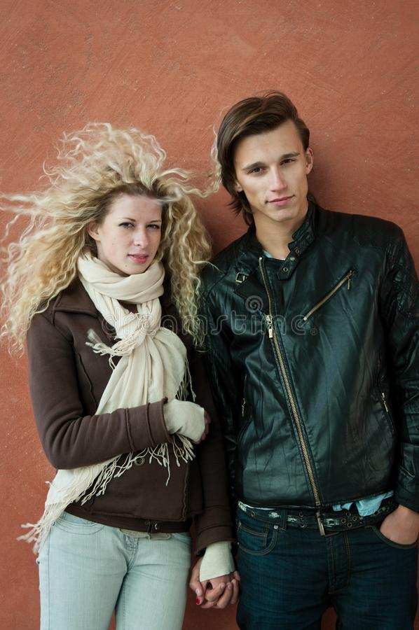 Young couple fashion portrait stock photos