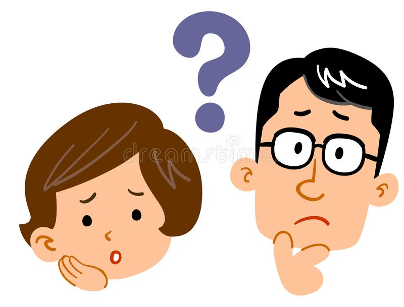 Young couple feeling doubts, troubled expression royalty free illustration