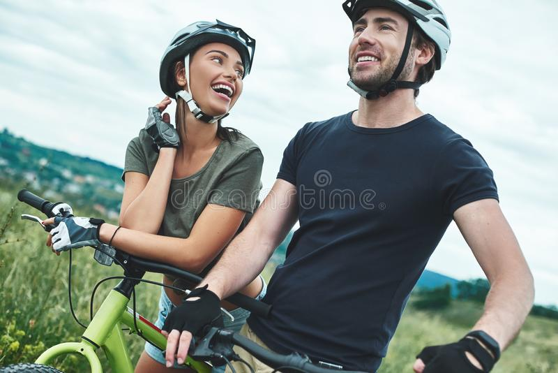 Young couple are flirting with each other . Close up stock photography