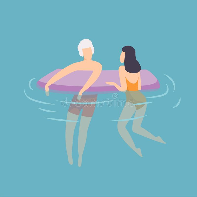 Young Couple Floating on Air Mattress, Young Man and Woman Relaxing in the Sea, Ocean or Swimming Pool at Summer stock illustration