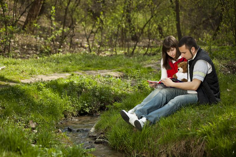 Young couple in a forest