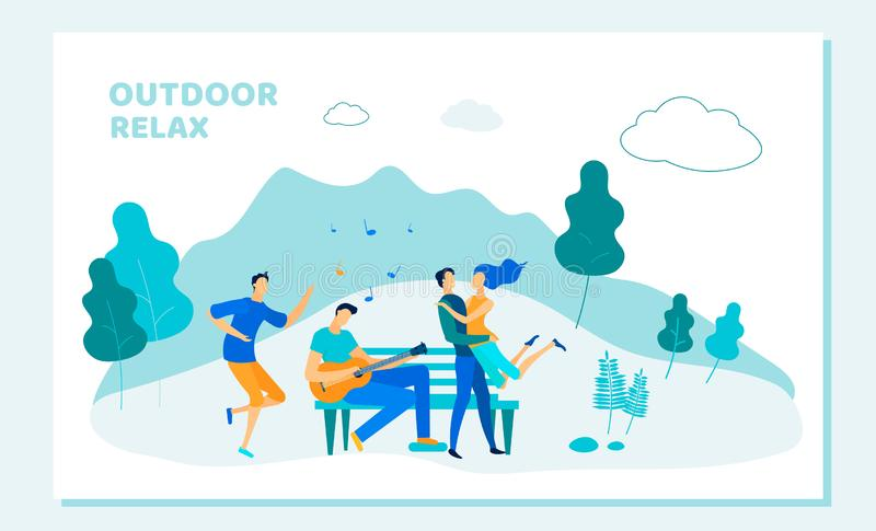 Young Couple and Friends Spend Time in City Park. Young Loving Couple and Friends Spend Time in City Park. Romantic Relations, Love, Friendship, Summertime vector illustration