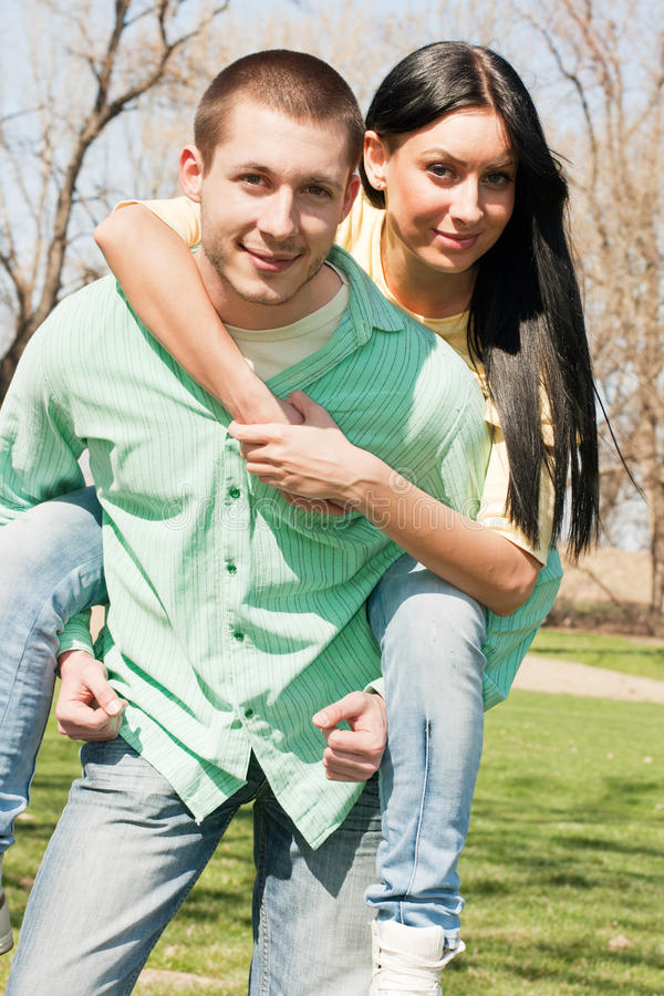 Young couple fun outdoors royalty free stock photo