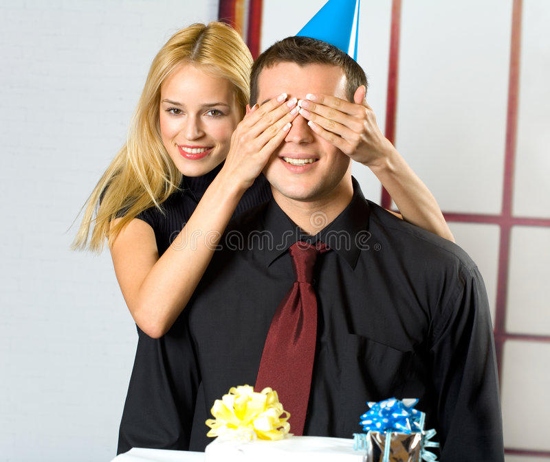 Download Young couple with gifts stock photo. Image of flirtation - 2408656