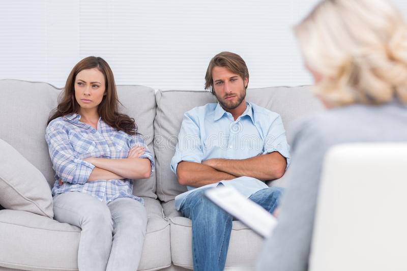 Young couple going through therapy royalty free stock photo