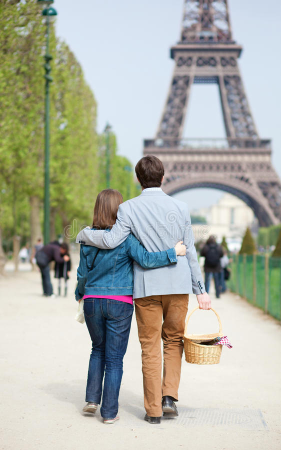 Young couple going to have a picnic royalty free stock image