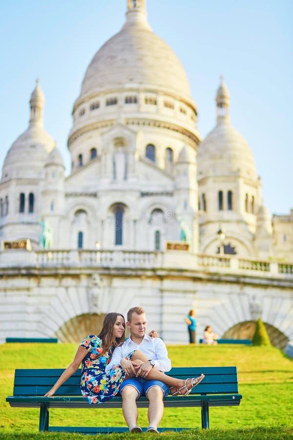 Young couple having a date on Montmartre, Paris, France stock photos