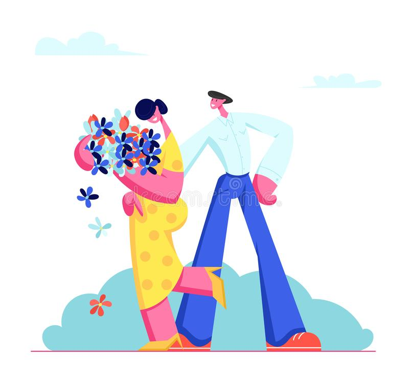 Young Couple Having Dating. Cute Embarrassed Girl in Yellow Dress Holding Bouquet of Flowers in Hands, Man Embracing Girlfriend. Young Couple Having Dating. Cute royalty free illustration