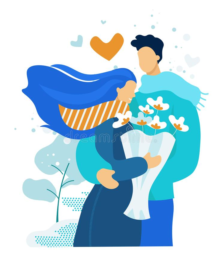 Young Couple Having Dating. Girl Holding Bouquet. Young Couple Having Dating. Cute Embarrassed Girl in Blue Dress Holding Bouquet of Beautiful Flowers in Hands royalty free illustration
