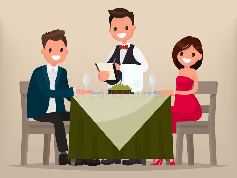 A young couple having dinner in a restaurant. Man and woman sitting at the table, the waiter takes order dishes. stock illustration