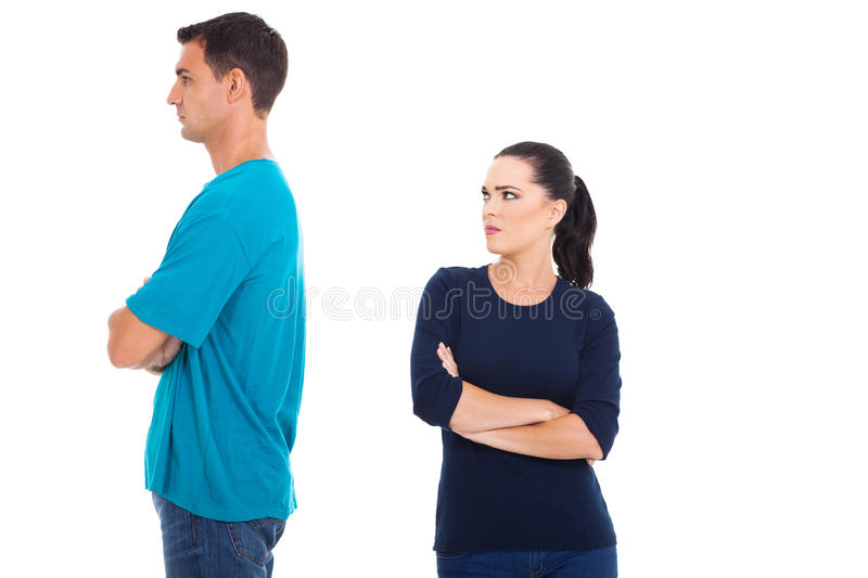 Couple having dispute stock images
