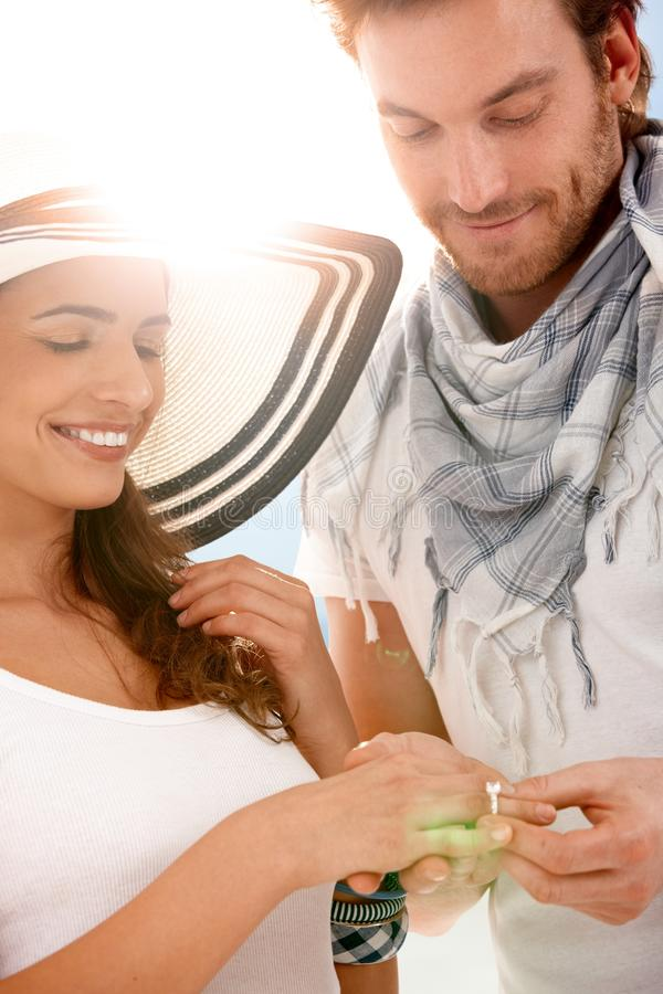 Free Young Couple Having Engagement On Sunny Summer Day Royalty Free Stock Photos - 19103008