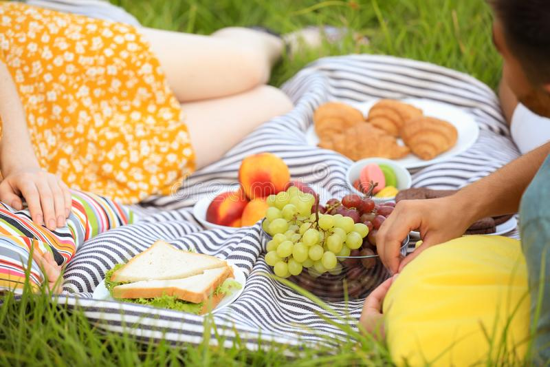 Young couple having picnic on green grass stock image