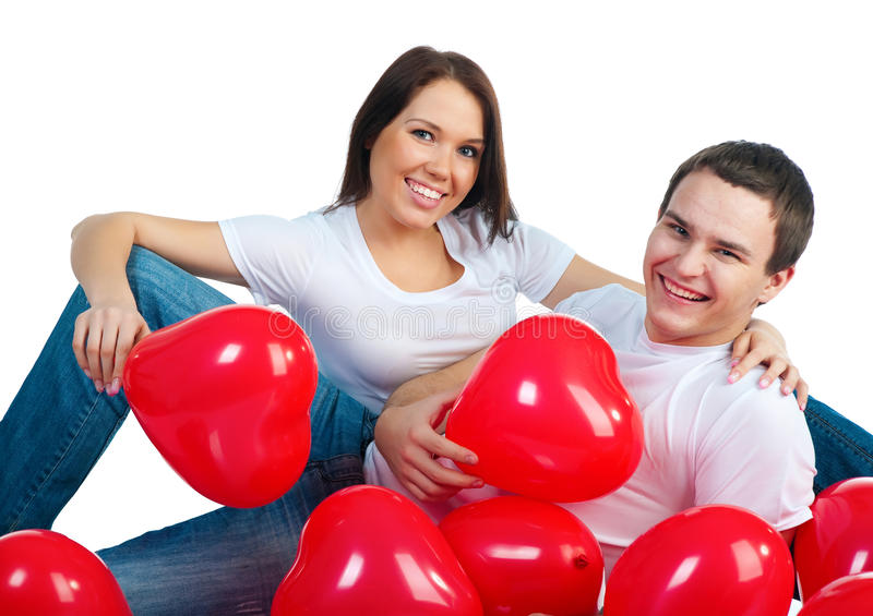 Download Young couple with a hearts stock image. Image of holiday - 17938843