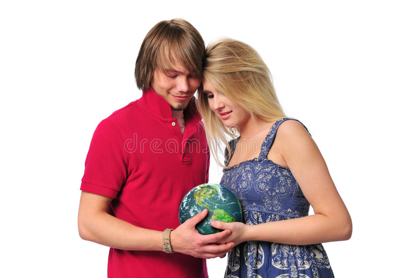 Download Young Couple Holdind The Earth Royalty Free Stock Photography - Image: 5270177