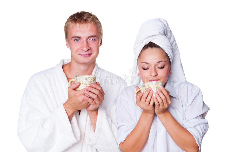 Download Young Couple Holding Cup Of Tea Stock Image - Image: 27020953