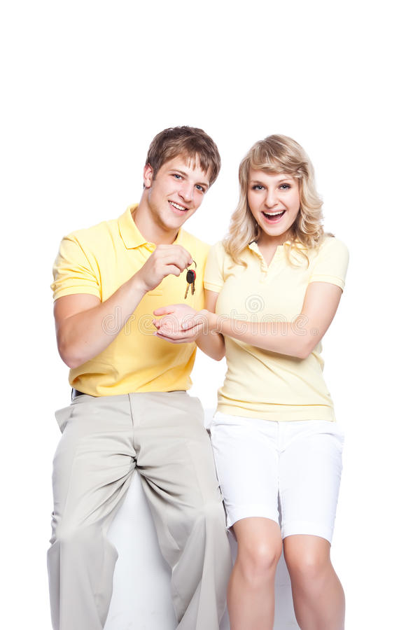 Download Young Couple Holding A Set Of Keys Stock Photo - Image: 11350282