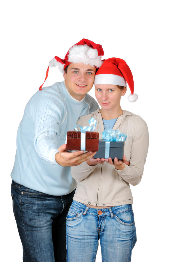 Free Young Couple In Santa S Hats Stock Image - 11429921