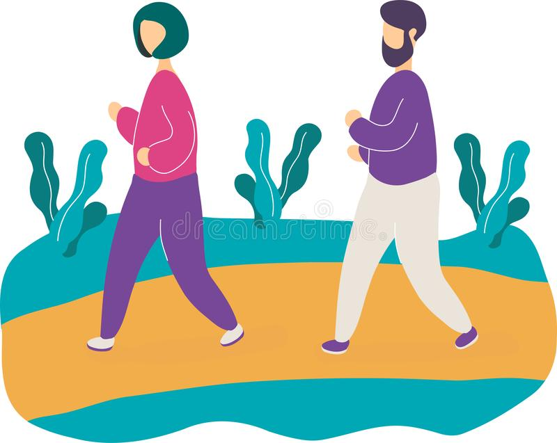 Young couple jogging in park vector illustration