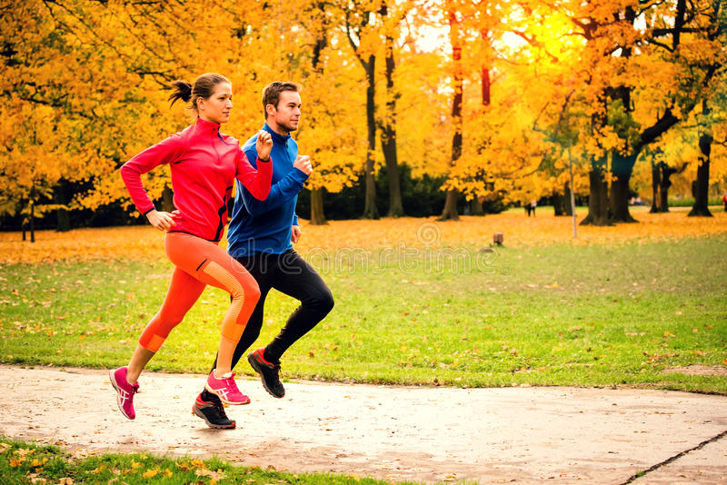 Couple jogging in autumn nature royalty free stock photos